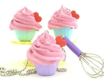 The Bakers Necklace sweet  pink  frosting Cupcake necklace with purple miniature whisk charm great as tea party necklace