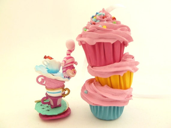 Stacked Cupcakes Christmas Ornaments 3 Mini Cupcakes Stacked Christmas Tree Decoration alice in wonderland Theme pink frosting