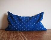 Indigo pillow, buckwheat cushion, floral pillow, cobalt blue, handwoven fabric, antique linen, rustic decor, bohemian cushions, decorative