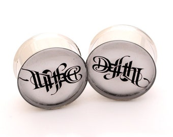 Life and Death Picture Plugs gauges - 16g, 14g, 12g, 10g, 8g, 6g, 4g, 2g, 0g, 00g, 7/16, 1/2, 9/16, 5/8, 3/4, 7/8, 1 inch