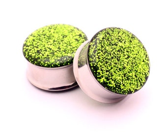 "Embedded Kiwi Glitter Plugs gauges - 00g, 7/16"", 1/2, 9/16, 5/8, 3/4, 7/8, 1 inch"