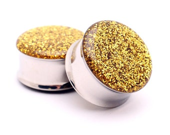 "Embedded Gold Glitter Plugs gauges - 00g, 7/16"", 1/2, 9/16, 5/8, 3/4, 7/8, 1 inch"