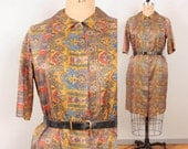 1960s Plus Size Silk Dress / Abstract Graphic Print Zip Up Womens 60s Day Dress - Short Sleeve Below the Knee Lightweight Flowy Ethnic