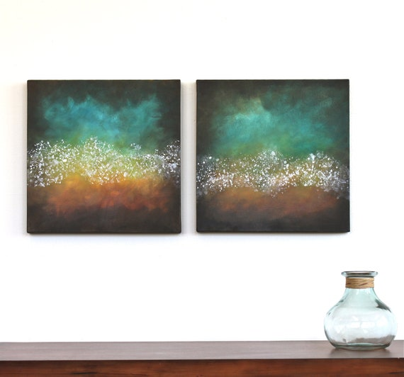 Northern Lights teal turquoise orange aqua brown mustard yellow modern art mid century original acrylic painting on two canvases