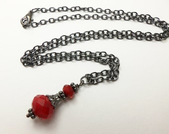 Gothic Red Necklace Red Beaded Jewelry Dark Silver Red Necklace Victorian Gothic Necklace