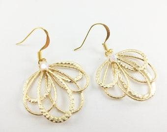 Gold Earrings Clear Beaded Gold Dangle Earrings Feather Filigree Earrings Bright Gold Jewelry