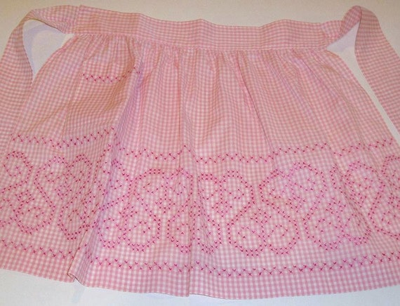 Vintage Hand Made Embroidered Gingham Apron