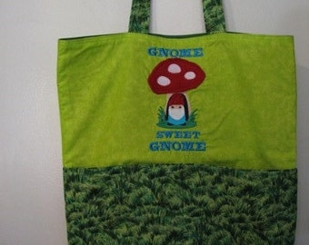 Gnome and Grass Lawn Eco Friendly Tote Bag Grocery Bag Shopping Bag