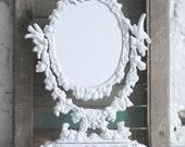 Antique Ornate Metal Pedestal Mirror / Stand Alone Frame