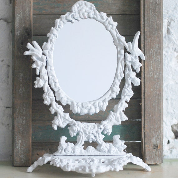 Antique Ornate Metal Pedestal Mirror Stand Alone Frame
