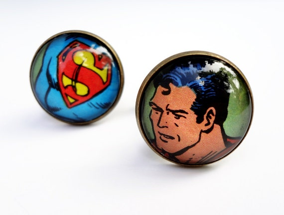 Cuff links, Superman Cufflinks, Comic Book Cufflinks, Husband Gift, Father's Day Gift