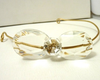 Crystal Bow Golden Headband- brass with upcycled Chandelier Crystal