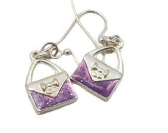 Purple Handbag Charm Earrings, Accessories, Fashion Jewelry, Dangle Earrings