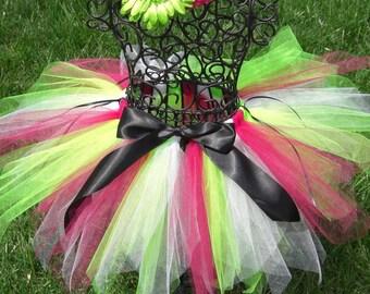 Girls Spring tutu- Dance tutu- WATERMELON TUTU- Fuchsia and Green tutu- Toddler birthday tutu- Girls fairy tutu