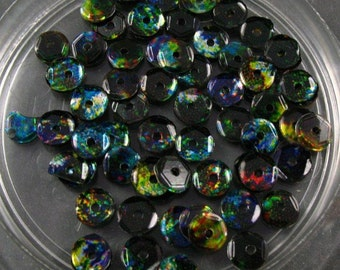 New Sequins - 5mm  Round Slightly Cupped Black with Holograms