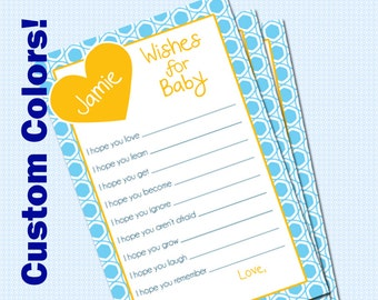Baby Shower Game- Wishes for Baby- Customized DIY Printable
