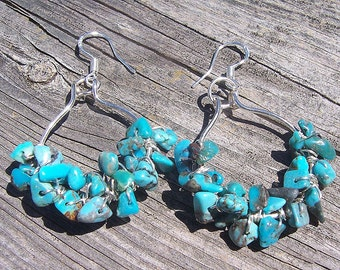 Turquoise nugget wire wrapped hoop earrings, turquoise jewelry, southwest jewelry