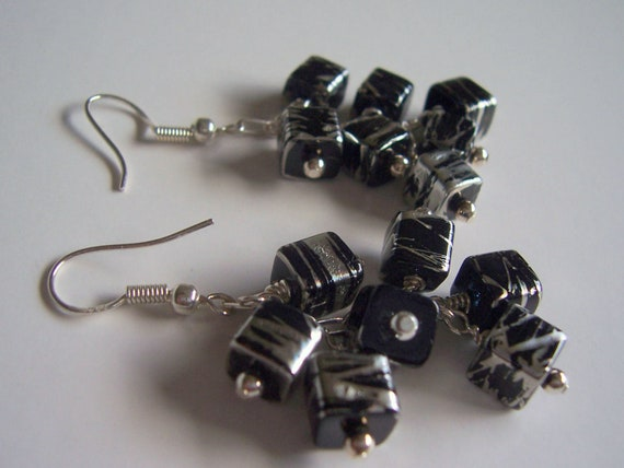 Black and silver cube geometric cluster earrings