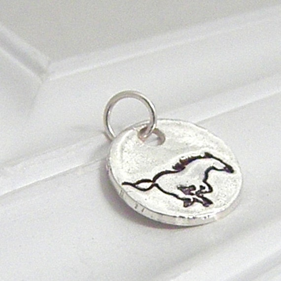 Mustang Charm - Hand Stamped Silver on Etsy