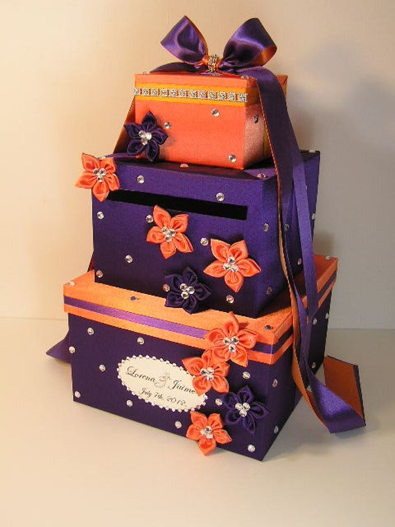 Purple and Orange Wedding  Card Box Gift Card Box Money Box Holder--Customize Your Color