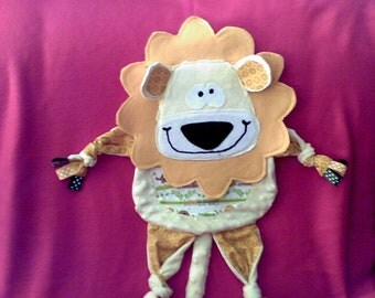 Minky Lion Blankie in yellows and browns