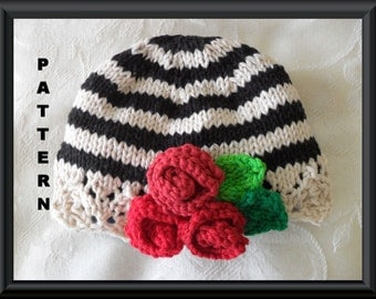 Knitted Hat Pattern Baby Hat Pattern Newborn Hat Pattern Infant Hat Pattern : STRIPES  and ROSES CLOCHE