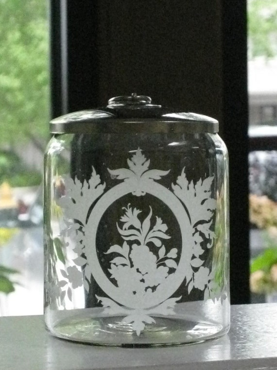 Vintage Etched Glass Apothecary Jar Floral Design Metal Lid