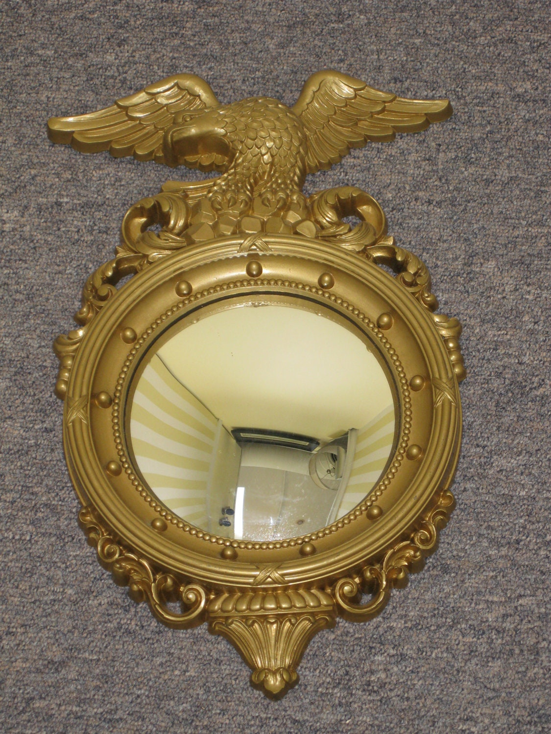 Vintage small bullseye mirror gold federal style eagle with for Old style mirror