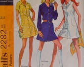 McCalls 2282 Vintage 70s Mini Dress and Pantdress Pattern Size 14, Bust 36