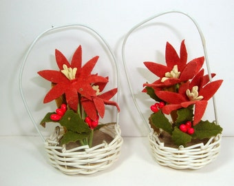 Vintage Christmas Name Placers, Name Holder,  Mid Century, Candy Basket, Red Poinsettia, Table Decoration, Holiday Decor, Made in Japan