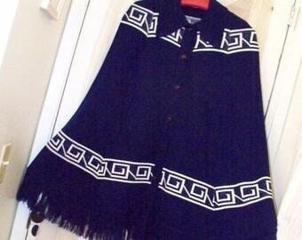 vintage 70s navy blue acrylic knit fringed hippie cape