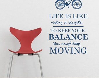 Life is Like Riding a Bicycle  22X36 ORIGINAL Graphics by DecoMOD Walls
