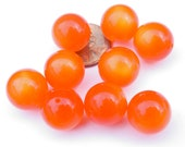 Vintage - Round Deep Orange Moonglow Lucite Beads 14mm - MI300