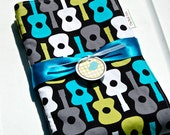 Baby Boy Blanket - Groovy Guitar with Bubble Dot Minky