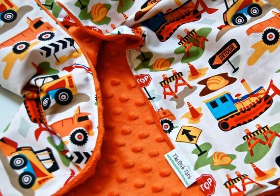 Baby Boy Blanket - Dig It with Orange Minky - Toddler Blanket