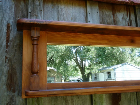 Reclaimed Pine Mirror Frame and Shelf