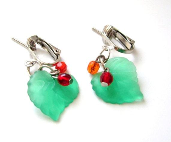 clip on fall leaf earrings girls children petite green. Black Bedroom Furniture Sets. Home Design Ideas