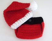 Baby Santa Hat and Diaper Cover, Christmas Set, Holiday Outfit, Baby Boy, Baby Girl, Newborn, 3 to 6, 6 to 12 months