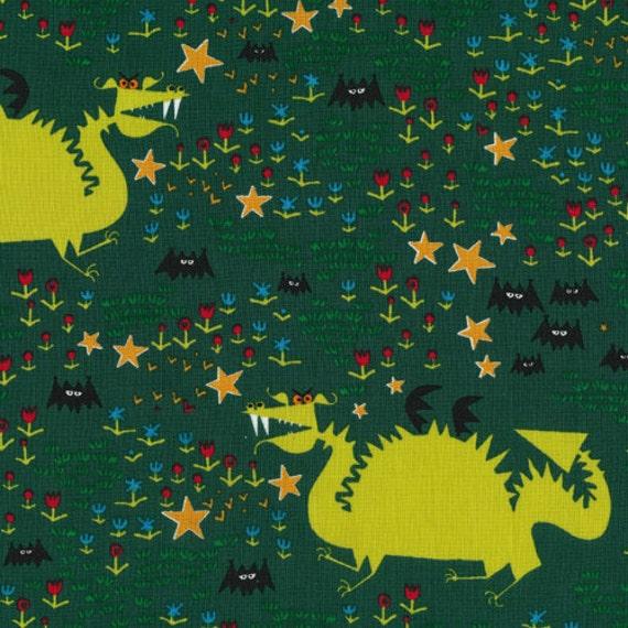 Dragons from Happy Drawing - Cloud9 Organic fabrics  - Half Yard