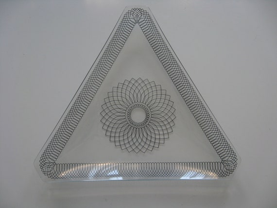 Midcentury Modern Triangular Serving Dish or Plate.  Very Unique.  2 Available.