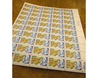 1976 Benjamin Franklin 13 Cent Vintage US Postage Stamp - Sheet of 50