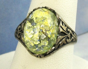 Adjustable Ring Vintage Glass Yellow Fire Opal in Antique Silver Filagree Band