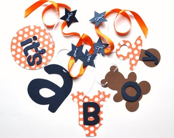 Baby shower banners decorations orange and navy blue it's a boy banner by ParkersPrints on Etsy