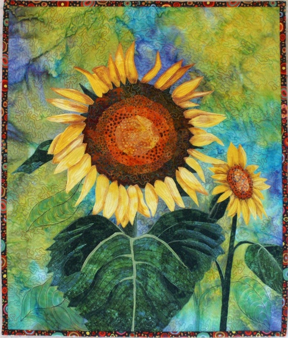 Sunflowers Original Art Quilt by Lenore Crawford
