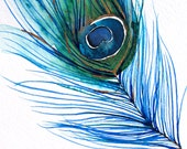 50% Off SALE - Gift for Her - Watercolor Painting - Peacock Feather I - Bird Art - 8x10 Print - Watercolor Illustration - Painting - Home De