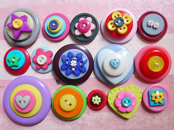15 Handmade Stacked Buttons / 14-35mm / Set 004
