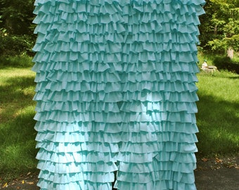 Aqua Ruffled Curtain