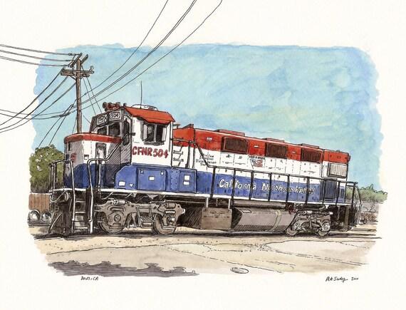 train in davis, CA (print)