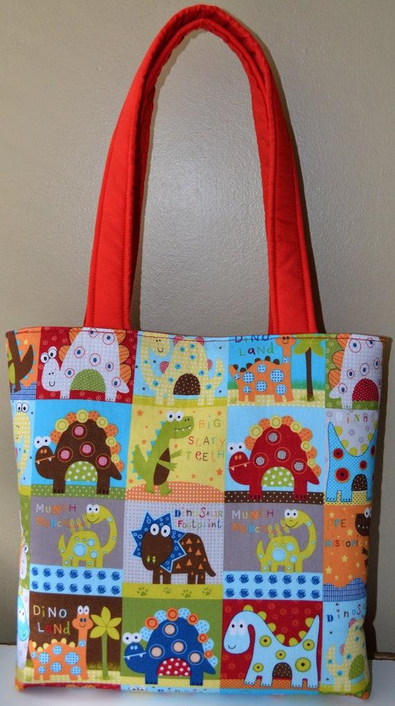 Tote Bag / diaper bag / baby bag / handmade diaper bag - Dinosaur Fun