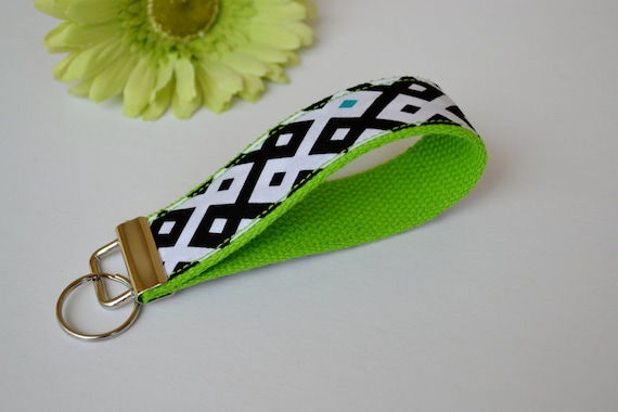 Wristlet Keychain Key Fob - Black and White Diamonds